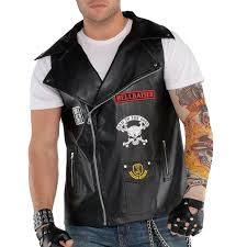 biker vest unisex badass biker vest rocker leather patches rider anarchy gang