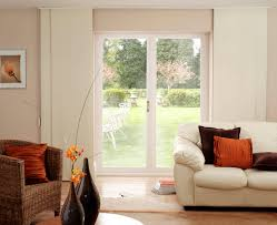 Curtains For Sliding Glass Patio Doors Sliding Glass Patio Door With Broken White Blinds Treatment