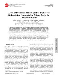 acute and subacute toxicity studies of chitosan reduced gold