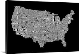united states map black and white united states cities text map black and white wall canvas