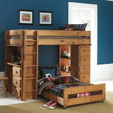 Kids Room Wooden T Shaped Bunk Bed Features Desk With Drawers And - Wood bunk beds with desk and dresser