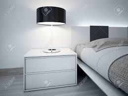 contemporary monochrome bedroom design stylish bedside table