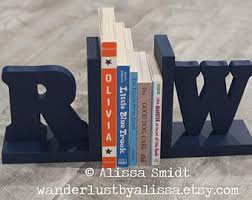 monogram bookends custom bookends etsy