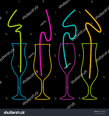 neon colors on black background cocktail stock vector 447348040