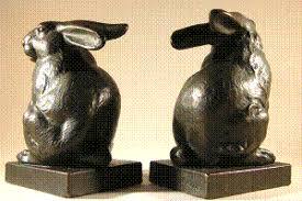 rabbit bookends rabbit pompeian 1160