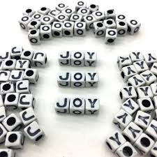 7mm white cube alphabet beads w black letters 3 5mm hole