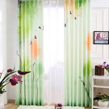 Country Style Window Curtains Cheap Country Style Light Green Animal Tree Bay Window Curtains