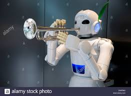 the toyota a white humanoid trumpet playing