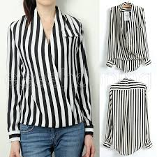 black and white striped blouse chiffon blouse fashion black white stripe v
