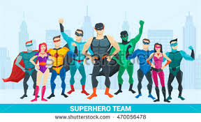 Superhero Backdrop Super Hero Composition Group Superheroes Different Stock Vector
