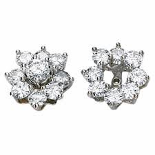 moissanite earrings 14kt white gold 1 62 ct tw moissanite earring jackets jj63214 16214kw