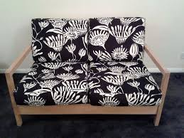Two Seater Sofas Ikea Ikea 2 Seater Sofa Black And White Cushions Wood Frame In