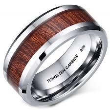 wood inlay wedding band genuine koa wood inlay mens tungsten carbide