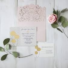 wedding invitations online canada blush pink flower glittery laser cut pocket