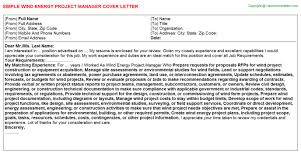 wind energy project manager cover letter