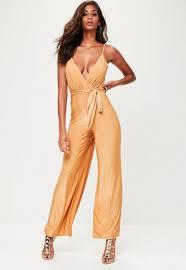 gold jumpsuit gold slinky wide leg jumpsuit missguided