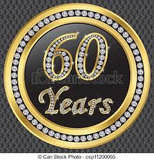 60 years anniversary 60 years anniversary happy birthday golden icon with clipart