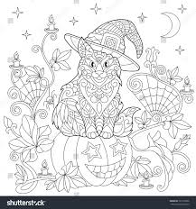halloween coloring page cat hat halloween stock vector 721256206