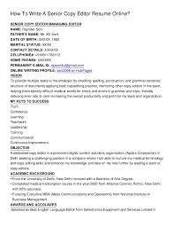 copy editor resume how to write a senior copy editor resume online