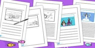 mermaid writing frames worksheets 1