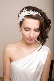 lace headband bridal lace headband with swarovski pearls lace headpiece