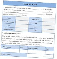 Sle Bill Of Sale For Automobile by Empty Vehicle Bill Of Sale Template For Car Photo Of Bill Of Sale