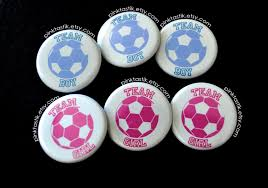gender reveal buttons soccer baby shower soccer buttons