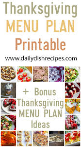 thanksgiving meal plan printable tons of recipes daily dish recipes