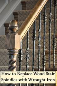 Wood Banisters Pin By Sharyen On Replacing Wood Balusters With Wrought Iron