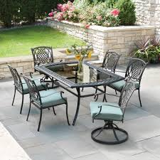 Dining Patio Set Hton Bay Belcourt 7 Metal Outdoor Dining Set With Spa