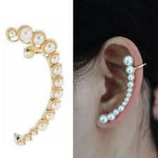 trendy earrings women retro faux pearl earring ear cuff warp clip left side