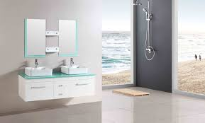 Wall Mounted Bathroom Vanity Cabinets Black Stained Wooden Bathroom Vanity Cabinet With Rectangle White