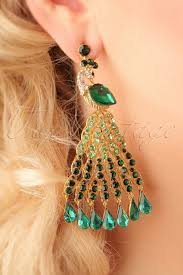 20s earrings 20s peacock chandelier earrings in gold