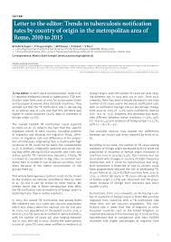 eurosurveillance letter to the editor trends in tuberculosis
