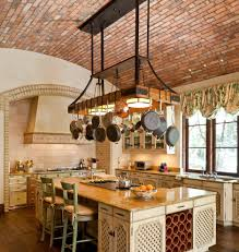 overhead pot holder kitchen rustic with green tile wall
