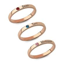 stackable engraved mothers rings s stackable engraved name rings with birthstone