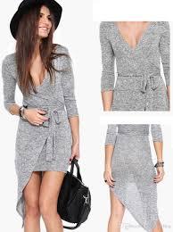 2015 new women grey dress long sleeve asymmetrical dress