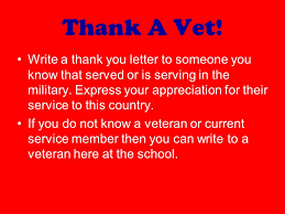 Thank You Letter Veterans what is today veterans day we support you thank a vet write a