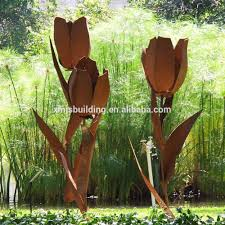 modern attractive outdoor corten steel flower sculpture metal