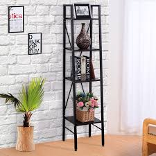 costway 4 tier ladder bookshelf bookcase storage wall stand
