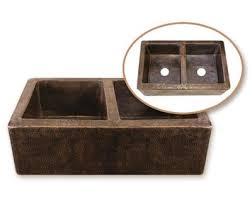 Premier Copper Products  X  Hammered  Double Bowl - Farmhouse double bowl kitchen sink