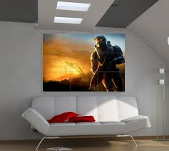 an epic halo mural a lightly futuristic aesthetic u003d gaming
