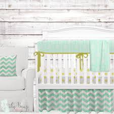 Mint Green Crib Bedding Glitz Metallic Gold Gender Neutral Baby Crib Bedding