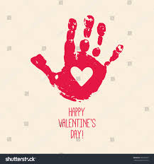 happy valentines day card design handprint stock vector 367523555
