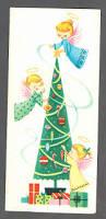 original 1950 u0027s christmas greeting card angels decorating