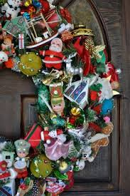 large christmas wreath made with all vintage by shescrafty121