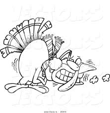 vector of a cartoon shivering cold turkey coloring page outline