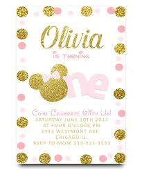 minnie mouse birthday invitation pink gold