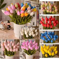 tulip arrangements 100pcs artificial pu real touch tulips bud flower arrangement