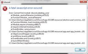 discord javascript error a fatal javascript error has occured discordapp